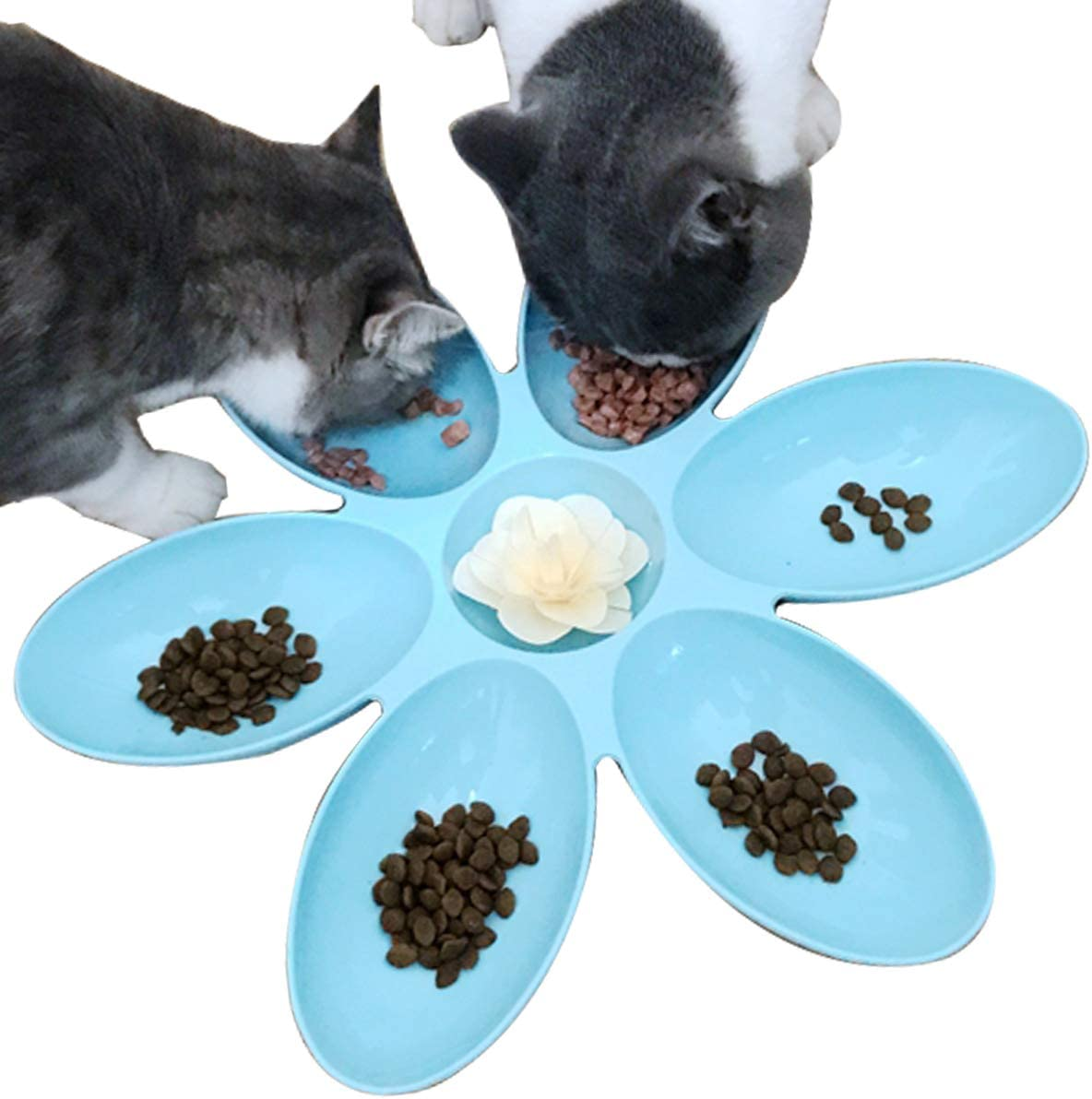 2 Pack Spring new work Cat Bowls High material Food Multi-Cat Water 6- Dishes Feeder