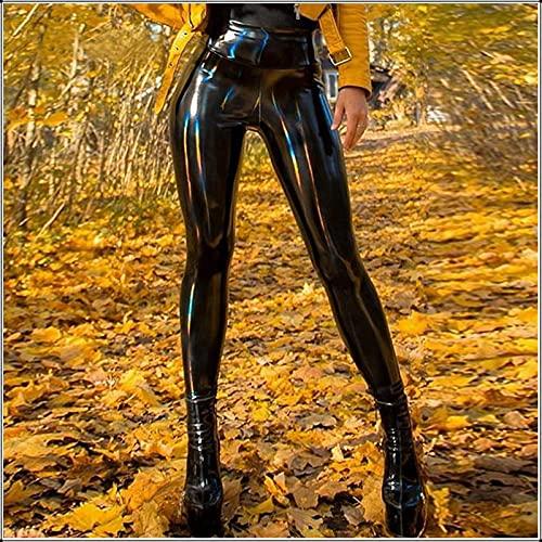 Leggings Cintura Alta para Mujer,Mallas De Entrenamiento para Mujer, Pantalón De Yoga De Cintura Alta, Mallas Negras De Cuero Artificial Sexy De Hip Hop, Mallas Negras Opacas para Fiesta De Bar, XL