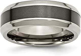 FB Jewels Solid Titanium Swirl Design Black Ip-Plated 6mm Brushed//Polished Wedding Band