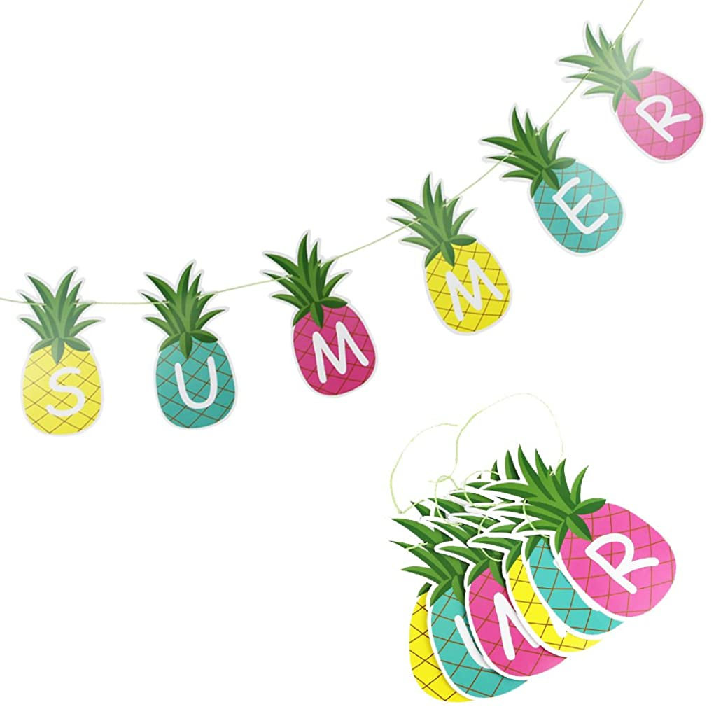 SUNBEAUTY 1.5m Colorful Summer Pineapple Banner Luau Tiki Party Supplies Hawaiian Theme Decor