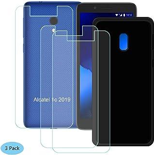 YZKJ fodral för Alcatel 1C 2019 skydd svart silikon skyddshölje TPU skal skal 3 stycken pansarglas displayskyddsfolie skyd...