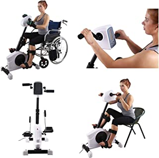 Konliking Electronic Physical Therapy Rehabilitation Bike for Senior Recumbent Indoor Pedal Exerciser Training Hand Arm Foot Leg Knee Passive Assist for the Handicap Disabled Stroke 180W Spasm Mode