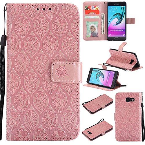 WindTeco Funda Samsung Galaxy A5 2016, Retro Flor Patrón Carcasa Libro Shock-Absorción Billetera con Ranuras de Tarjeta para Samsung Galaxy A5 2016