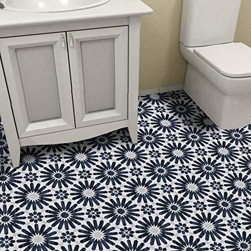 Vintage Azul Oscuro Autoadhesivo de despegar y pegar antideslizante impermeable de PVC extraíble para baño, cocina, decoración del hogar, suelo de pared, escalera, azulejos, 20 x 300 cm