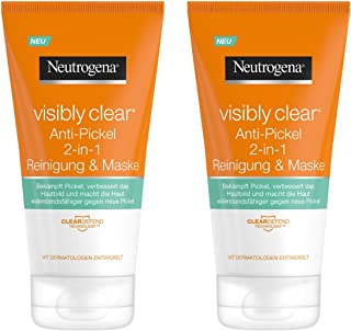 Neutrogena 露得清 Visibly Clear 2合1 洗面奶/面膜,含有黏土,抗粉刺/ 2 x 150毫升