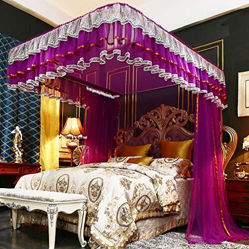 LM-BBQ European Palace Mosquito Net Mosquitera Bed Canopy Tipo de Cortina de pie Encaje con Acero Inoxidable Aleación de riel en Forma de U Codo Celular Malla Tres Puertas Sin Productos químicos