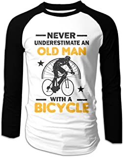 Eyscar Men Logo of Never Underestimate an Old Man with A Kayak Cotton Baseball Raglan Full T-Shirts