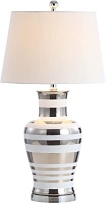 """JONATHAN Y JYL6603A Zilar Striped 28.75"""" Ceramic,Iron Classic Modern LED Table Lamp Silver Bedroom Living Room Office"""