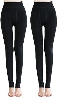 2 pack Medias Térmicas Mujer Pantalones Elásticos Leotardos Leggings Mujeres Invierno Grueso Cálido Forrado Traje Mullido Franela Caliente