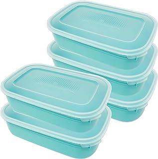 Codil Lot de 5 boîtes de rangement, récipients de cuisine, récipients réutilisables, récipients en plastique, rectangulair...