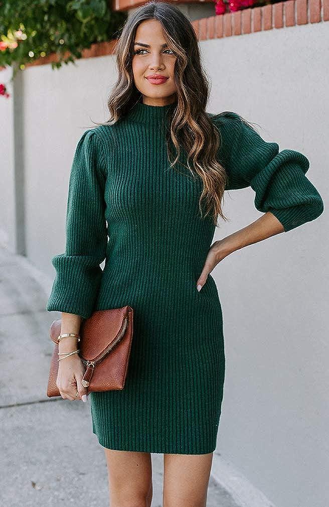 Shownicer Damen Pulloverkleid Elegant Strickkleid Winterkleider Freizeit Kleid Tunika Langarm Pullover Minikleid A Grün