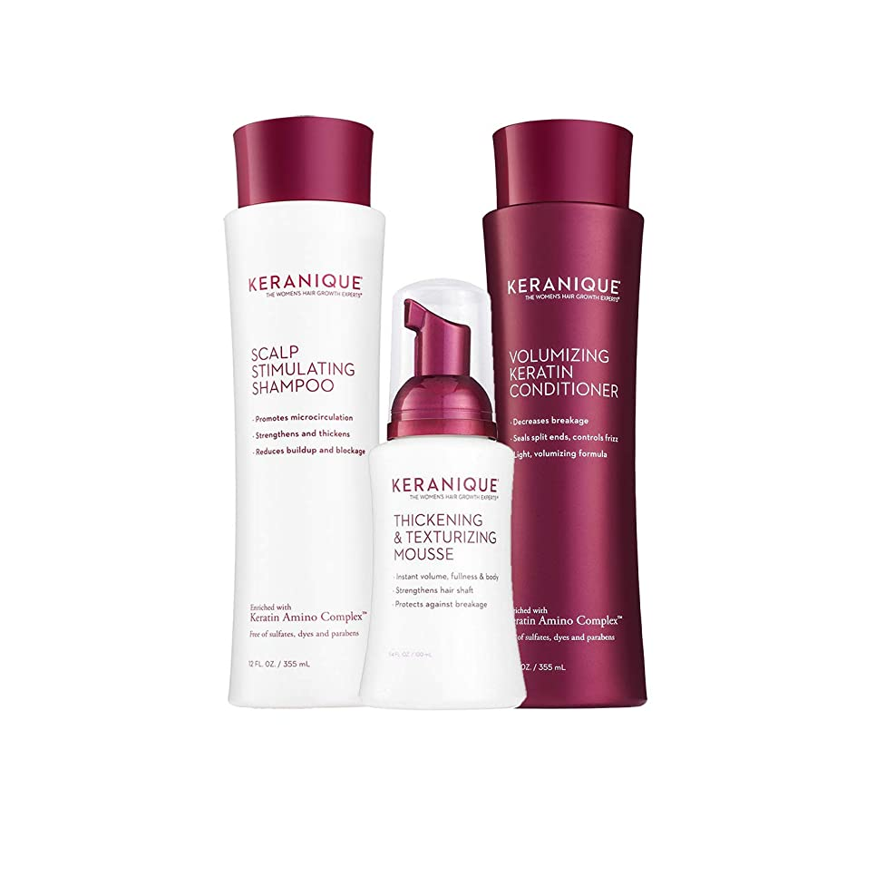 Keranique 60 Day Hair Thickening Kit | Shampoo, Conditioner, and Texturizing Mousse | Free of Sulfates, Dyes and Parabens | Improves Hair Texture | Strengthens Thinning Hair