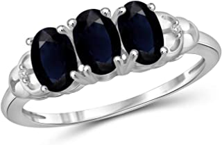 Jewelexcess 2 Carat T.G.W. Sapphire & Accent White Diamond Sterling Silver Ring