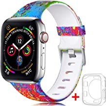 Laffav Pattern Band Compatible with Apple Watch 40mm iWatch Series 4 with Case for Women Men, Splash-Ink, S/M