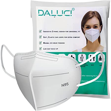 DALUCI Non-Woven Fabric Reusable N95 Face Mask (White, Without Valve, Pack of 10) For Unisex