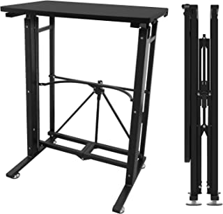 E-WIN スタンディングデスク 昇降式テーブル キャスター(固定脚)取付けだけの簡単組立 天板サイズ幅58cm×奥行40cm 昇降 ダイニング 手動 テーブル 折りたたみ 在宅 ブラック SD58-BK