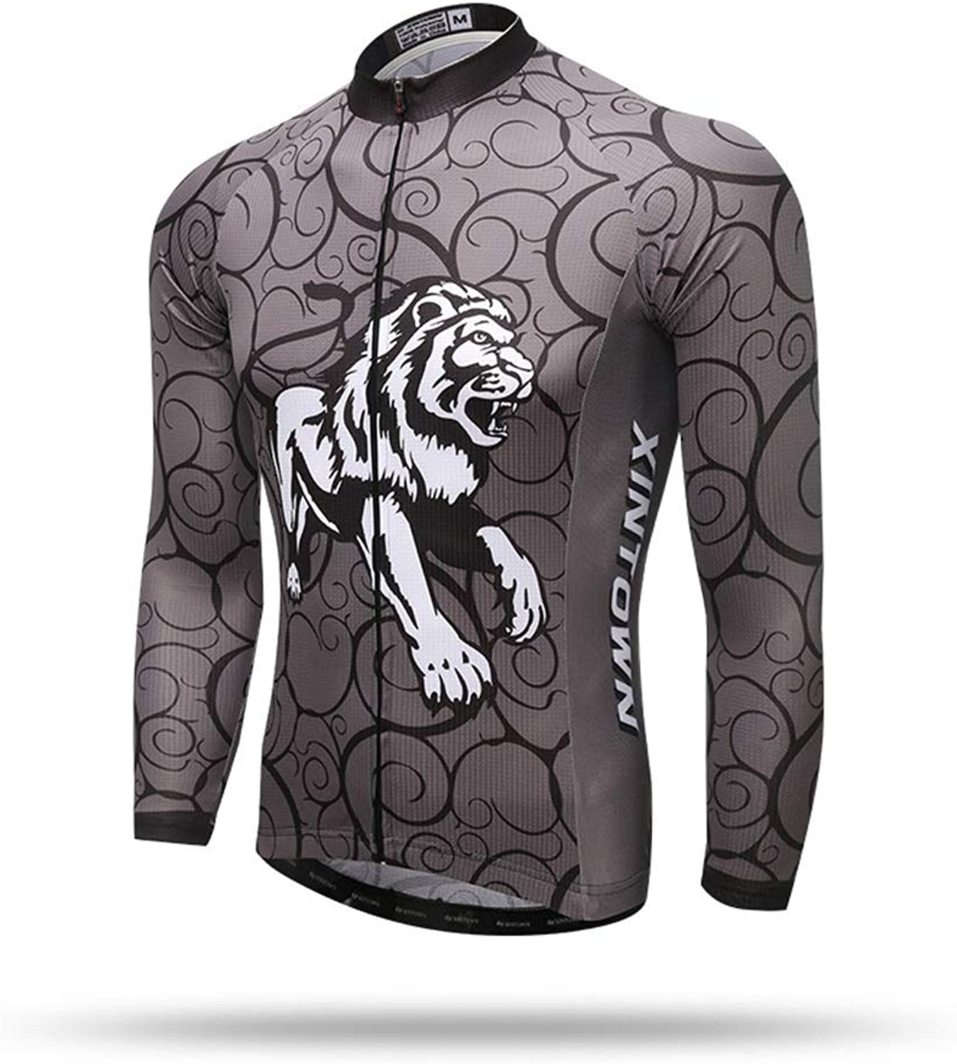 Pinjeer Cool Lion Pattern Printing Breathable Only Shirt Jersey Men Long Sleeve Quick Dry Spring Autumn Outdoor Men's Bike Cycling Jersey Clothing (Size   S)