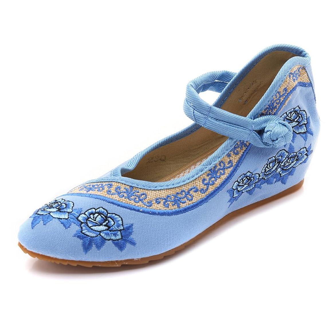 スローダイアクリティカル胚[Fanwer] 女性メアリージェーンクラシックスローズ刺繍中国靴ミュールフラット