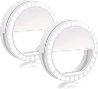 Selfie Ring Light LED Rechargeable - 2 Pack Portable 36 LED Bubbles Natural Lighting Clip On Phone Tablet Laptop Photography Phone Camera Photos Video