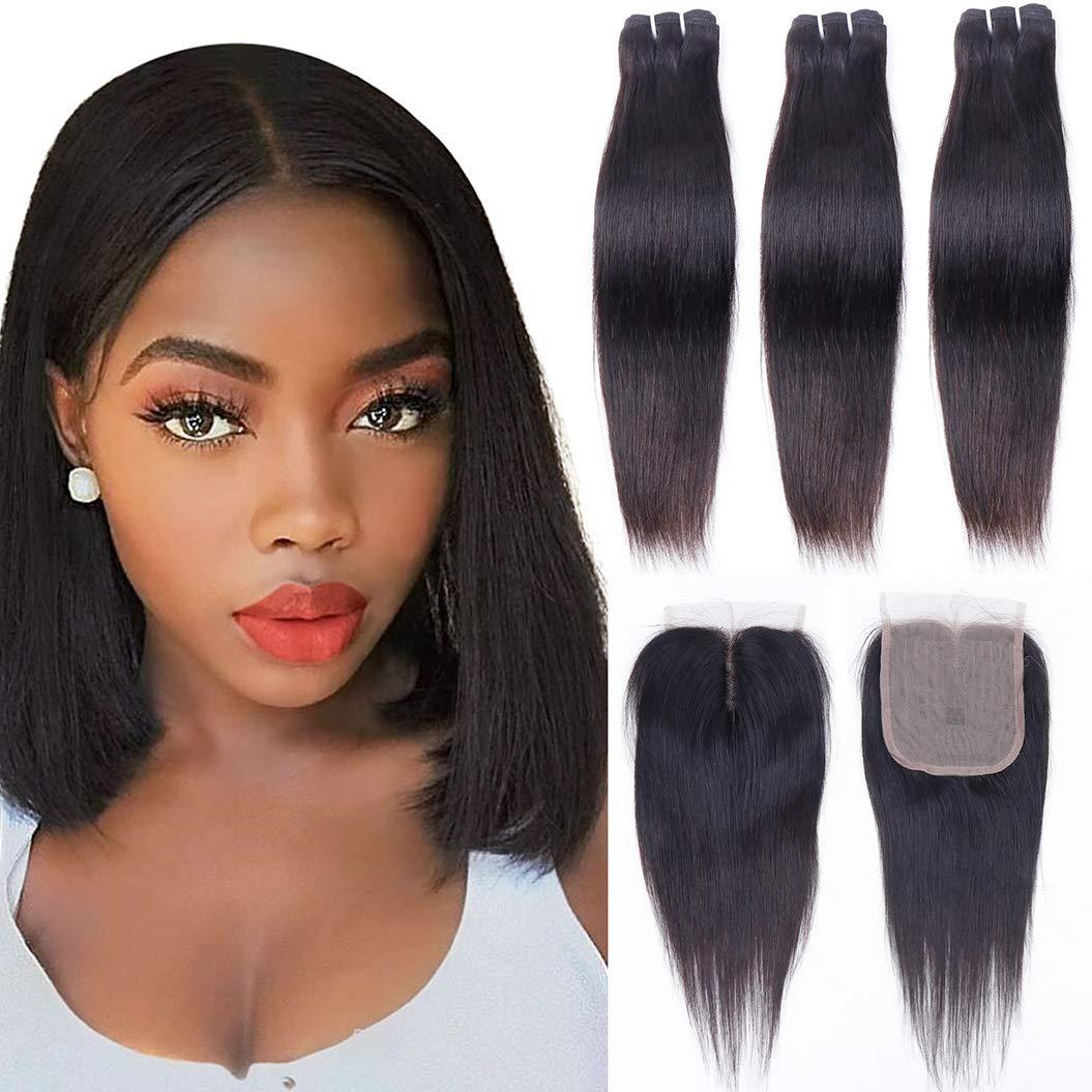 10a Genuine Brazilian Hair Bundles with Human Bund Straight Sale price Closure