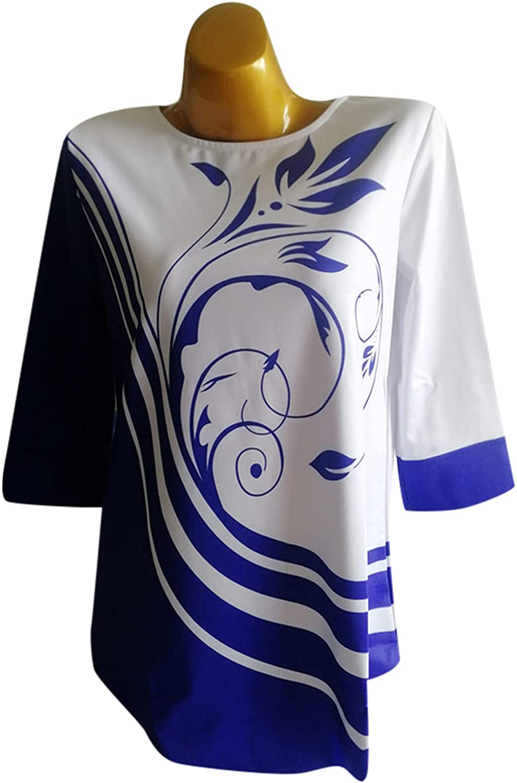 Long Sleeve Tops Casual Irregular Hem Block Blouse Floral Print Lady Shirt
