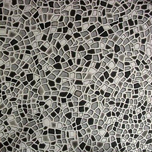 livingfloor® PVC Vinyl Bodenbelag Mosaik Steine grau in 2 m Breite, Länge variabel Meterware, Größe:2.00x2.00 m