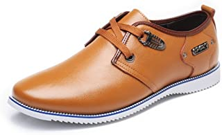 Ruiyue Leather Oxford Shoes Men,Formal Business Shoes Matte Wing-tip Genuine Leather Upper Lace Up Breathable Lined Oxfords for Men (Color : Orange, Size : 9 UK)