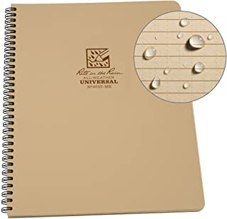 """Rite in the Rain Weatherproof Side-Spiral Notebook, 8 1/2"""" x 11"""", Tan Cover, Universal Page Pattern (No. 973T-MX)"""