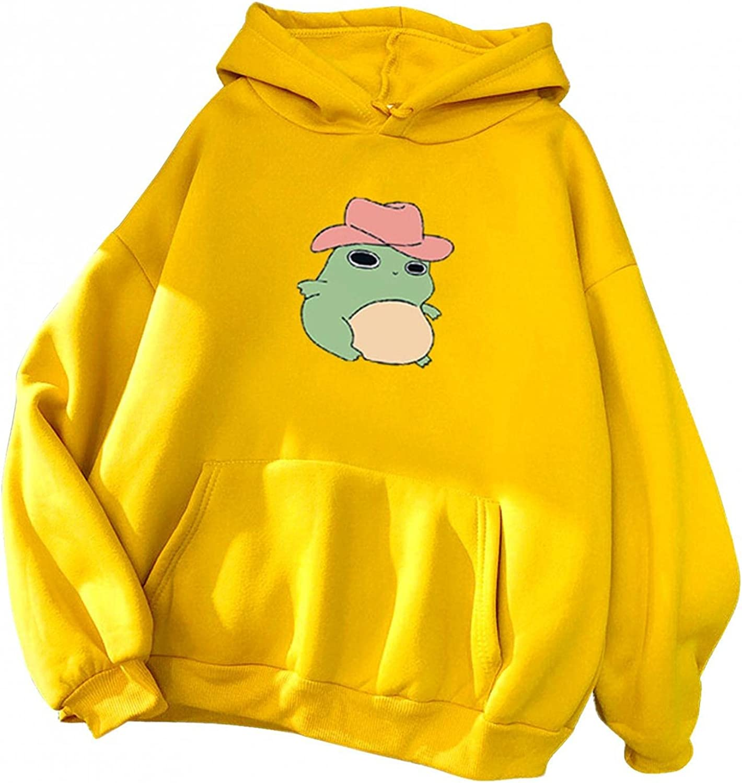 Haheyrte Hoodies for Womens Teens Girls Long Sleeve Cute Cartoon Frog Sweatshirts Casual Pullover Tops Shirts Blouse