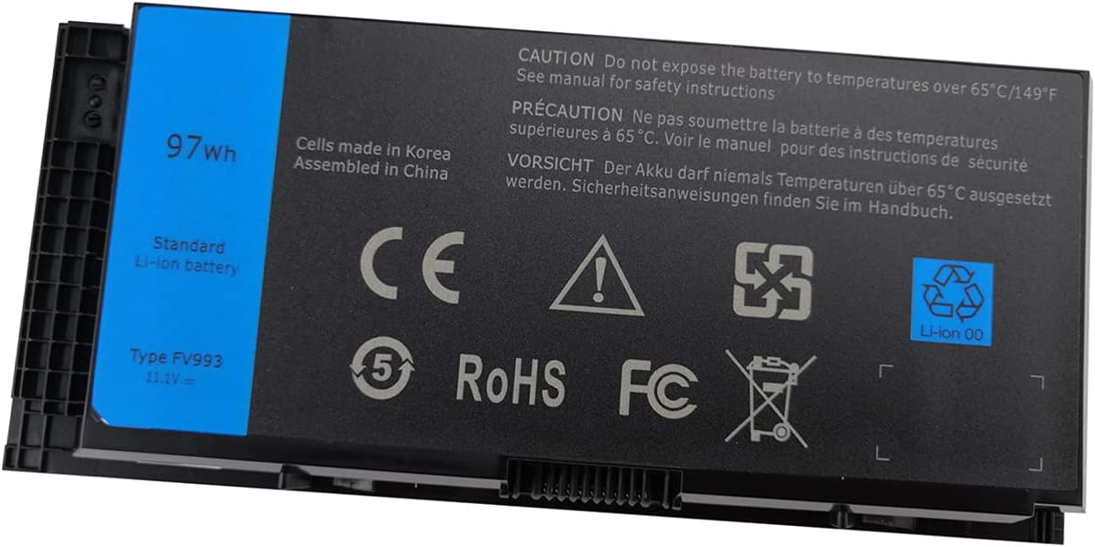 M4600 M4700 M4800 Laptop Battery for Dell Precision M6600 M6700 M6800 Series FV993 FJJ4W KJ321 PG6RC V7M28 R7PND RY6WH Notebook High Performance, 97WH 8600mAh 9 Cells 11.1V