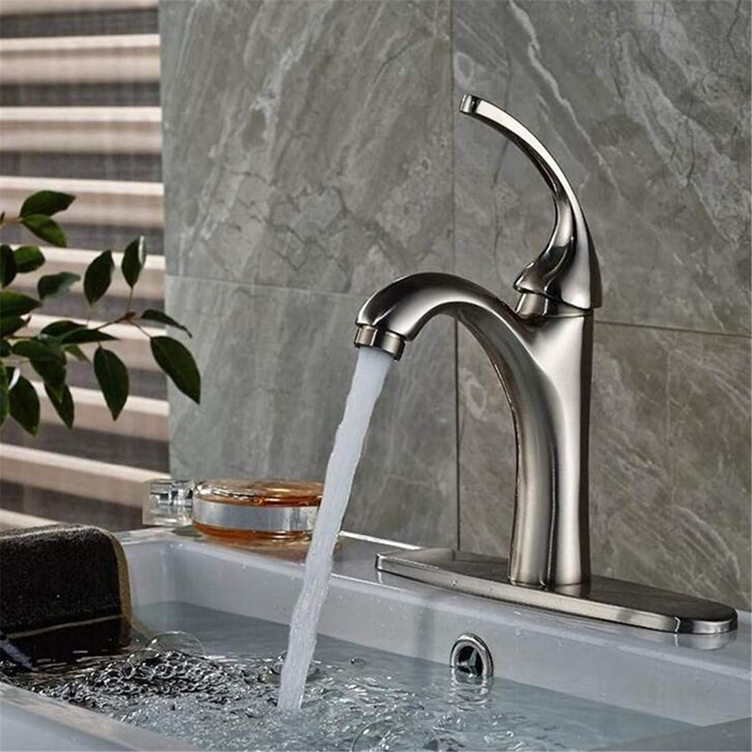 Faucet Kitchen Bathroom Stainless Steel Faucet Faucet Washbasin Mixer Bathroom Baisn Faucet Brass Sink Mixer Tap Plate Nickel Brushed