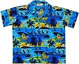 ALVISH Hawaiian Shirts 43B Boys Allover Print Beach Aloha Party Camp Blue L