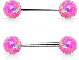 14G Internally Threaded Synthetic Opal Balls 316L Stainless Steel Nipple Bar