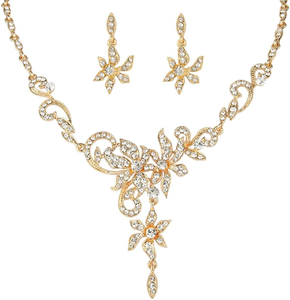 EVER FAITH New products, world's highest quality popular! Women's Austrian Crystal Over item handling Bridal Neck Vine Leaf Floral