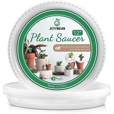 12PCS 6//8//10//12 Inch CLEAR SAUCER Vinyl Reuseable Sturdy Plant Pot Tray Pan Mat