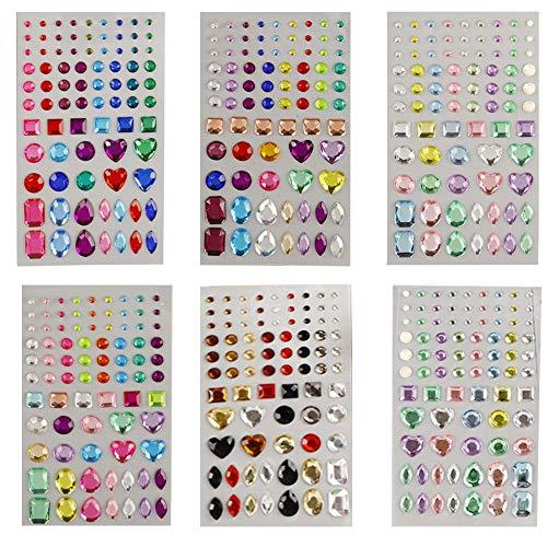 Glitzersteine Selbstklebend, Selbstklebende Strasssteine Kinder, 6 Blätter 486 Stück Selbstklebend Strass Sticker Crystal Gem Aufkleber Sortiert Farben und Formen