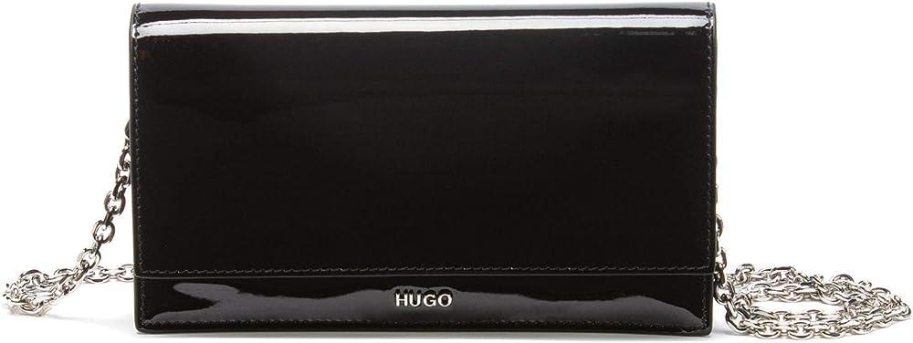 Hugo boss,custodia per smartphone  in pelle verniciata con tracolla a catena 50445810