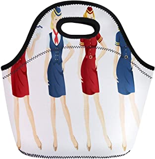 Semtomn Lunch Bags Red Attendant of Air Hostess in Uniform and Formal Neoprene Lunch Bag Lunchbox Tote Bag Portable Picnic Bag Cooler Bag