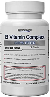 Superior Labs B Vitamin Complex - Superior Absorption - 100% NonGMO Safe from Additives, Stearates, Gluten and Other Aller...