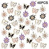 tacobear ciondoli charm fiore farfalla ciondoli per bracciali fai da te ciondoli bracciali collana orecchini fai da te ciondolo charms creazione gioielli charm kit gioielli fai da te donne 40pcs