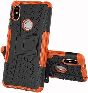 JMGoodstore Funda Compatible con Xiaomi Redmi S2 + Pantalla Vidrio Templado Doble Capa Combinación A Prueba Choques Heavy Duty Escudo Cáscara Carcasa móviles(Naranja)