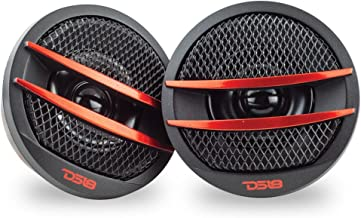 DS18 TX1R Tweeter X1 1.38-inch 200 Watts Max PEI Dome Ferrite Tweeters with Mounting Kit Angle, Flush, Surface - Set of 2 (Black/Red)