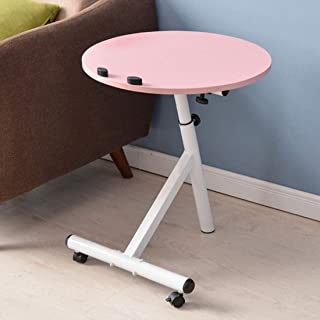 JYQ-SZRQ Accent Table, Round Sofa Side Table,Wooden End Coffee Table,Removable Liftable Laptop Desk,Height Adjustable,with Metal Frame Rolling Casters (Color : Pink)