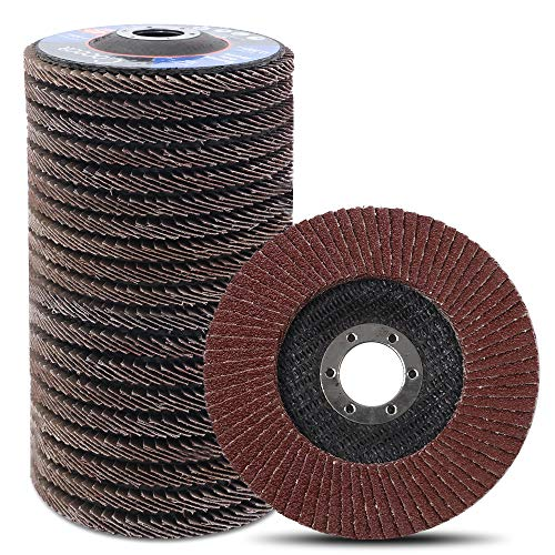 Coceca 20pcs Flap Discs Sanding Grinding Wheels 4-1 2 Inches for Angle Grinder, Type 27 Aluminum Oxide Abrasive(40 60 80 120 Grits)