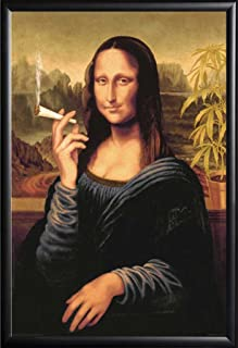 Mona Lisa Smoking a Joint Poster Framed (Black)