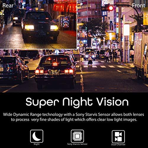 """Rexing V1P 2.4"""" LCD FHD 1080p Gran Angular 170 Grados Doble Canal Cámara de Tablero con Cámara Trasera, Supercapacitor, Sensor-G, WDR, Grabación en Bucle, App Móvil"""