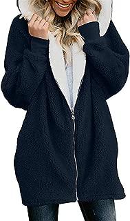 Soluo Women's Oversized Hooded Pockets Coat Winter Loose Fleece Sherpa Jacket Casual Zipper Warm Outwear