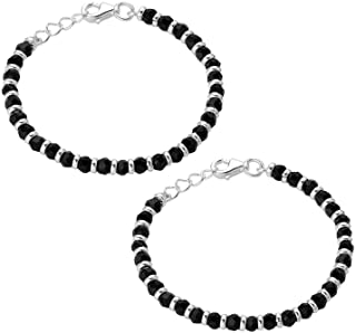 Nemichand Jewels 925 Sterling Pure Silver(Chandi) Black Bead Crystal Nazariya Bangle/Bracelet For Kids - One Pair