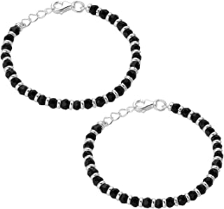 Nemichand Jewels 925 Sterling Pure Silver(Chandi) Black Bead Crystal Nazariya Bangle/Bracelet For Kids - One Pair