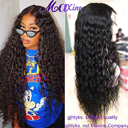 Maxine Water Wave Brazilian Virgin Human Hair Wigs 130% Density Lace Front Wigs with Adjustable Straps Natural Hairline with Baby Hair Natural Black U